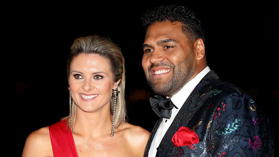 Sam Thaiday is pictured here with wife Rachel during a 2018 awards night.