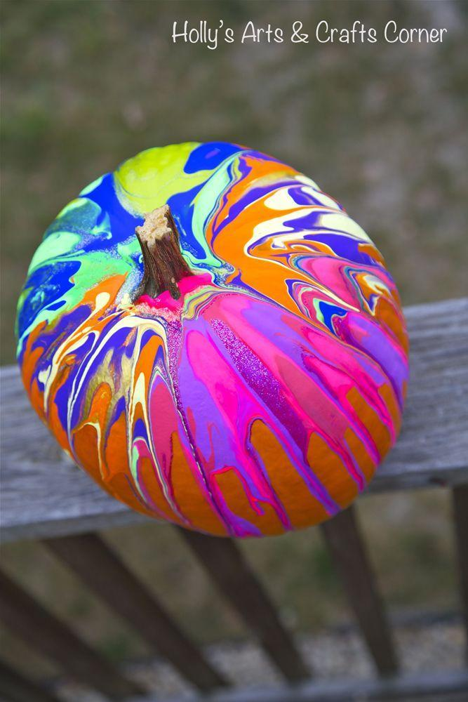 """<p>Grab your kids for this one: Since they love any excuse to get messy, ask them to pour paint all over this pumpkin for a drippy effect. </p><p><em><a href=""""http://hollysartcorner.blogspot.com/2012/10/craft-project-our-pinterest-pumpkins.html"""" rel=""""nofollow noopener"""" target=""""_blank"""" data-ylk=""""slk:Get the tutorial at Holly's Arts and Crafts Corner »"""" class=""""link rapid-noclick-resp"""">Get the tutorial at Holly's Arts and Crafts Corner »</a></em></p>"""