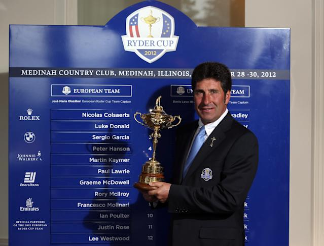 AUCHTERARDER, SCOTLAND - AUGUST 27: Jose Maria Olazabal, Captain of The European Ryder Cup team, poses in front of a board with the names the off the complete European team as the European Ryder Cup wildcard players are announced at a press conference at Gleneagles on August 27, 2012 in Auchterarder, Scotland. (Photo by Andrew Redington/Getty Images)