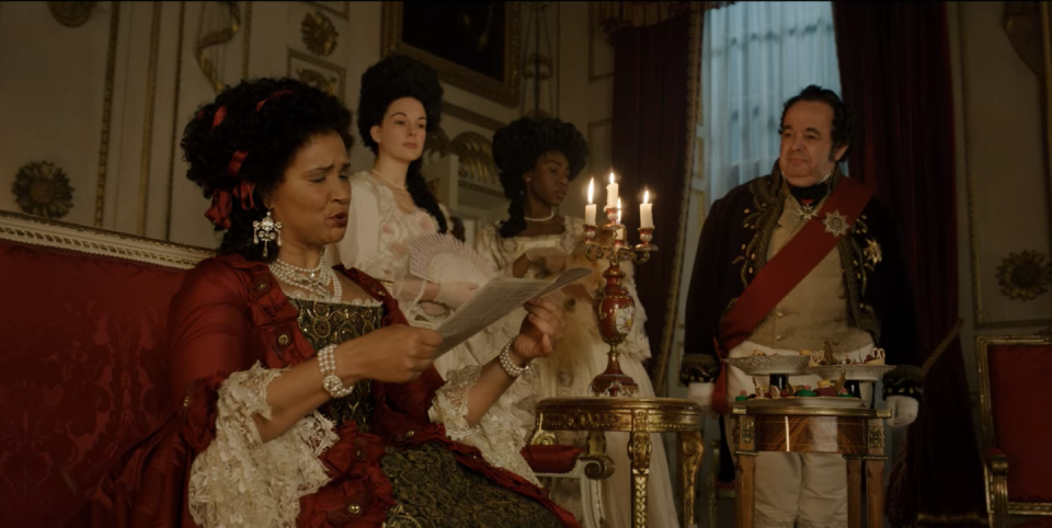 """<p>While the show alludes to the King's failing health, there are no mentions of the historic claims that he suffered from bipolar disorder and porphyria, a genetic blood disorder. Golda Rosheuvel, who plays Queen Charlotte, revealed that the King's illness was created from historical background, but that the show is not a biopic. """"It was just from Chris's mind,"""" she told <a href=""""https://www.insider.com/bridgerton-king-george-illness-queen-charlotte-explains-2020-12"""" rel=""""nofollow noopener"""" target=""""_blank"""" data-ylk=""""slk:Insider"""" class=""""link rapid-noclick-resp"""">Insider</a>.</p>"""