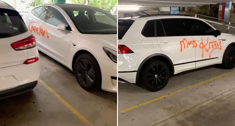 A white car is pictured with 'cheetah' spray-painted on its door in a carpark. Another car is pictured with 'Mrs Kitty' spray-painted on its door in the same carpark.