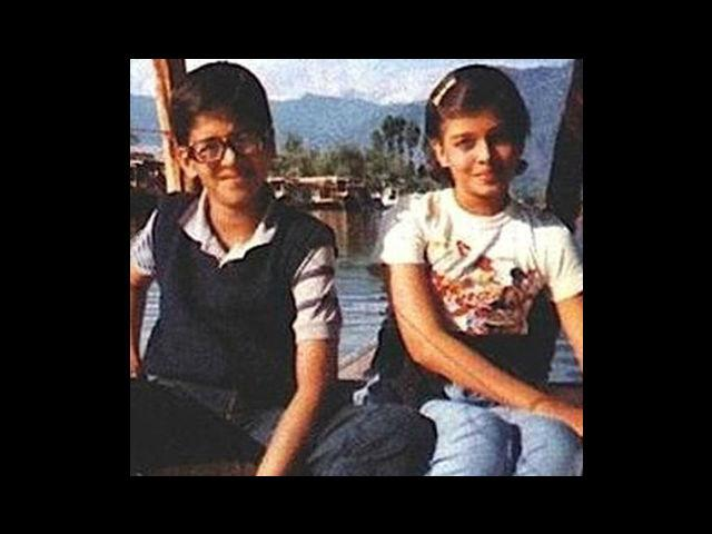 5. The Miss World-to-be, Aishwarya Rai – here seen with her elder brother, Aditya. Born on 1st November, 1973, she was born in a conservative Hindu family with a marine biologist father, a writer mother and a merchant navy engineer for a brother.