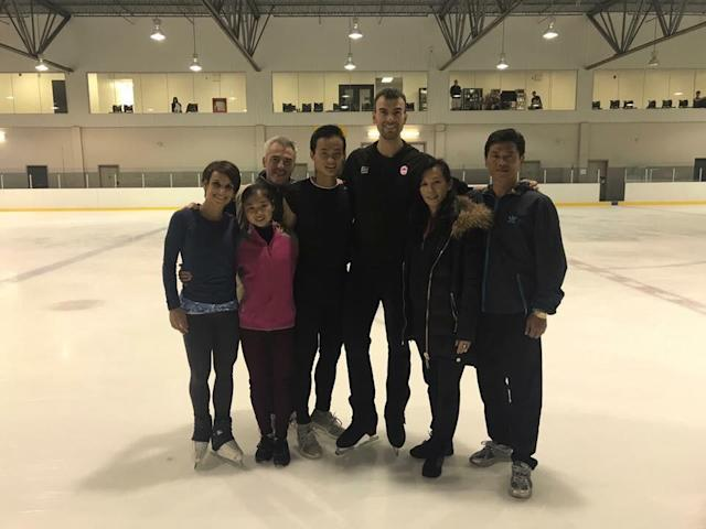 Ryom Tae Ok and Kim Ju Sik (second and third from the left) went to Canada to train with Bruno Marcotte (back left), coach of the Canadian ice skating team. (Courtesy of Bruno Marcotte)
