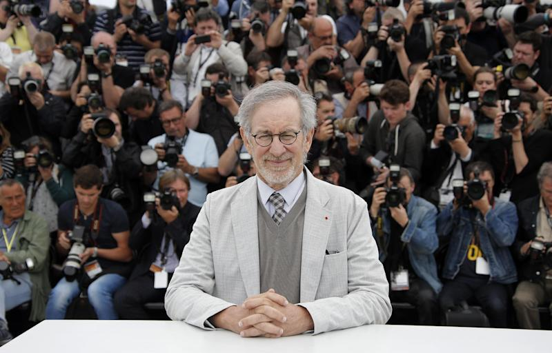 Jury president Steven Spielberg poses for photographers during a photo call for the jury at the 66th international film festival, in Cannes, southern France, Wednesday, May 15, 2013. (AP Photo/Francois Mori)