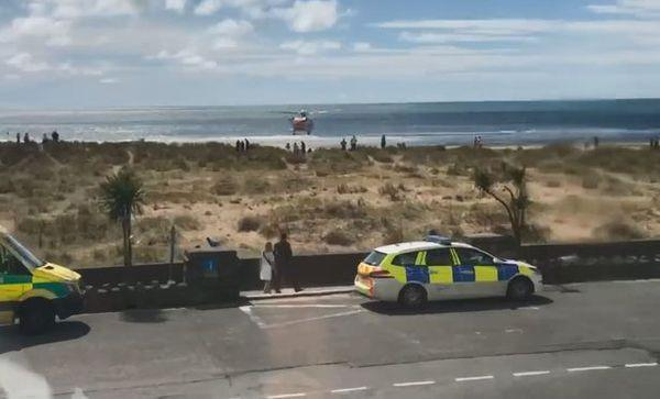 Search and Rescue mission: Stevens, 36, tried to pull his children - who had been caught in the rip tide - to safety.