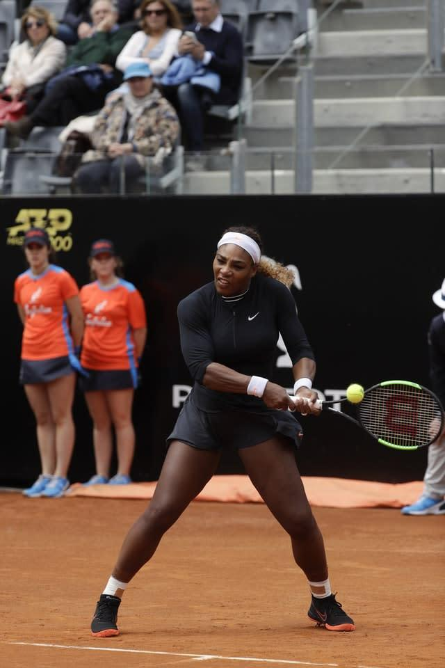 Serena Williams played her only match on clay so far this season in Rome before withdrawing through injury (Gregorio Borgia/AP)