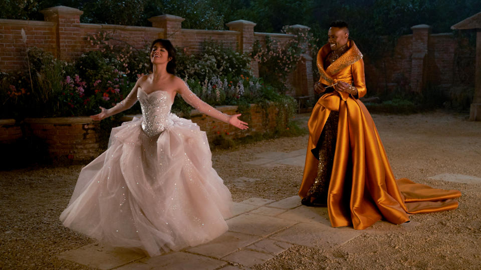 Camila Cabello and Billy Porter perform 'Shining Star' by Earth, Wind & Fire in 'Cinderella'. (Kerry Brown/Amazon)