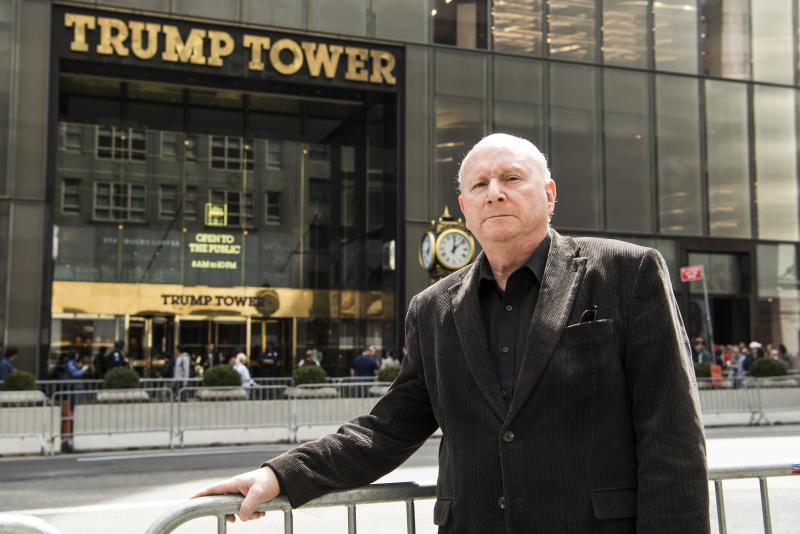 Concert pianist Jerome Rose in front of Trump Tower in New York on April 13. Rose advocated for sprinklers in high-rise apartments after a fatal fire in his building in 1989.