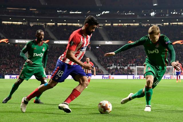 Diego Costa causes havoc once again, as he takes on the Lokomotiv Moscow defence.