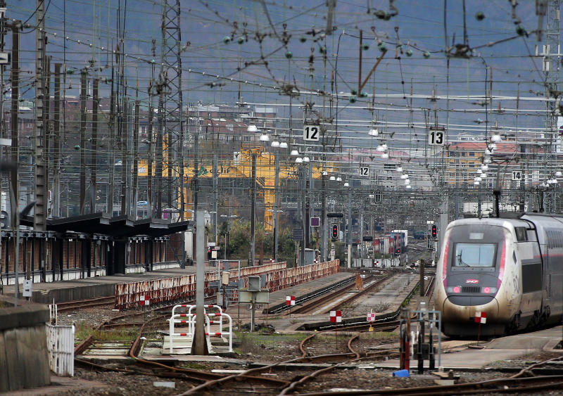 Trains park at the Hendaye train station, southwestern France, Sunday Dec.8, 2019 on the fourth day of nationwide strikes that disrupted weekend travel around France. (AP Photo/Bob Edme)