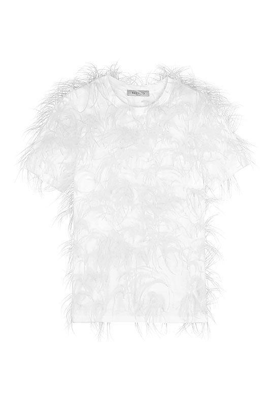 """<p><a class=""""link rapid-noclick-resp"""" href=""""https://go.redirectingat.com?id=127X1599956&url=https%3A%2F%2Fwww.matchesfashion.com%2Fproducts%2FValentino-Feather-embellished-cotton-T-shirt-1346478&sref=https%3A%2F%2Fwww.harpersbazaar.com%2Fuk%2Ffashion%2Fwhat-to-wear%2Fg27282427%2Fbest-white-t-shirt-women%2F"""" rel=""""nofollow noopener"""" target=""""_blank"""" data-ylk=""""slk:SHOP NOW"""">SHOP NOW</a></p><p>Why not swap your standard silky camisole for a white T-shirt on evenings in? First spotted on the Spring/Summer catwalk last year, Valentino's cotton-jersey top is covered in tactile ostrich feathers for a luxury finish.</p><p>Feather-trimmed cotton T-shirt, £1,690, Valentino at Matches Fashion</p>"""