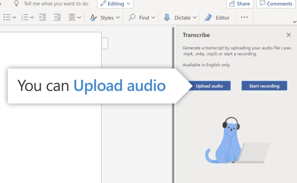 You'll be able to use Transcribe with video services like Zoom and Skype, through audio apps, or by uploading your file to Microsoft's cloud. (Image: Microsoft)