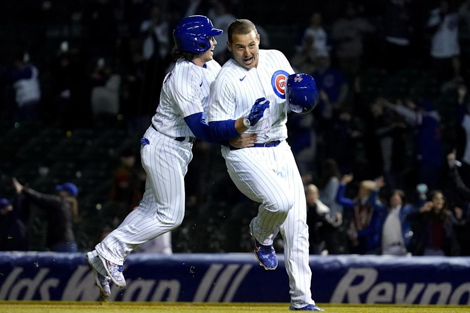 Chicago Cubs players celebrating