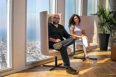 Leaders behind the collaboration, Allon Caidar, CEO of TVPage, and Inbar Yacoby, Program Manager at SAP.iO Foundry TLV, at the SAP Foundry Office in Tel Aviv