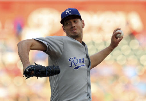 Kansas City Royals starting pitcher Eric Skoglund throws to a Texas Rangers batter during the first inning of a baseball game Friday, May 25, 2018, in Arlington, Texas. (AP Photo/Richard W. Rodriguez)