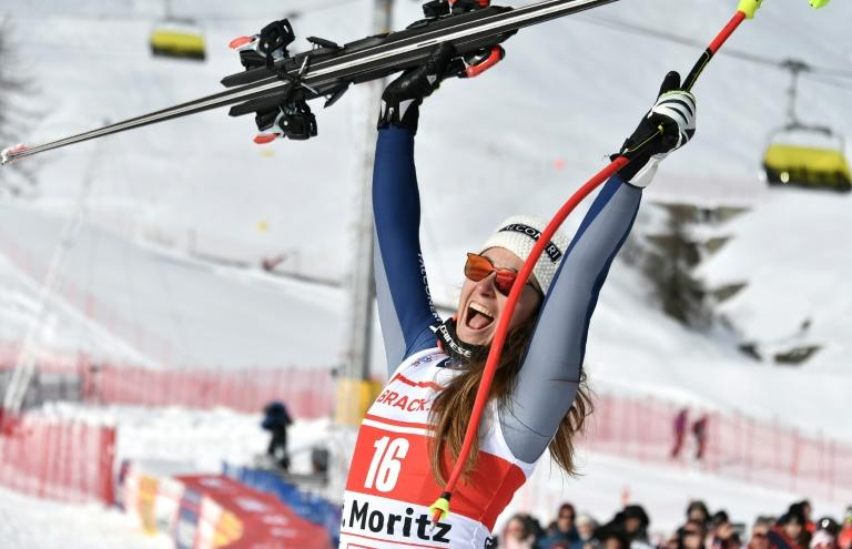 Sofia Goggia finished the St Moritz super-G with only one pole but still won