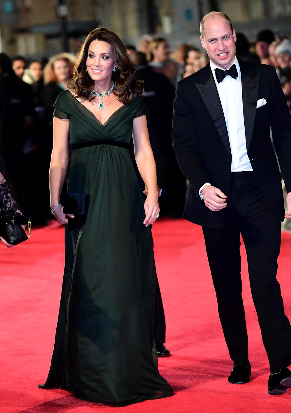 <p>On February 18, the Duchess of Cambridge wore a deep green dress by Jenny Packham for the BAFTA 2018 ceremony. Many believe that her black belt was a subtle nod to the Time's Up movement which saw A-listers don black on the red carpet. <em>[Photo: Getty] </em> </p>