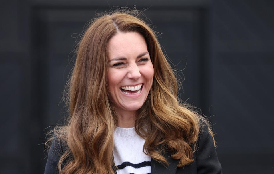 Britain's Catherine, Duchess of Cambridge gestures during a visit to meet local fishermen and their families and hear about the work of fishing communities, in Fife, Scotland on May 26, 2021, during their week long visit to Scotland. (Photo by Chris Jackson / POOL / AFP) (Photo by CHRIS JACKSON/POOL/AFP via Getty Images)