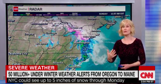 TV weather reports show the snarling storm heading east (CNN)