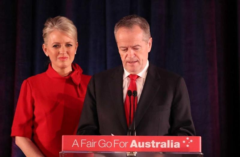 Leader of the Opposition and Leader of the Labor Party Bill Shorten, flanked by his wife Chloe Shorten concedes defeat following the results of the Federal Election at Hyatt Place Melbourne on May 18, 2019 in Melbourne, Australia. Source: Getty Images