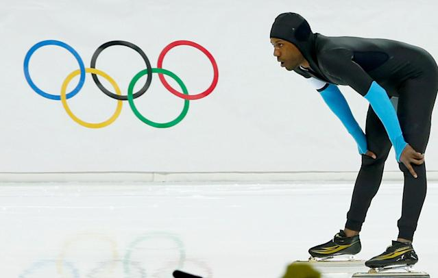 FILE PHOTO: Shani Davis of the U.S. reacts after competing in the men's 1,500 metres speed skating race during the 2014 Sochi Winter Olympics, Russia February 15, 2014. REUTERS/Marko Djurica/File Photo
