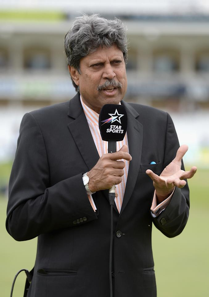 NOTTINGHAM, ENGLAND - JULY 11:  Former Indian cricketer and Star Sports commentator Kapil Dev ahead of day three of 1st Investec Test match between England and India at Trent Bridge on July 11, 2014 in Nottingham, England.  (Photo by Gareth Copley/Getty Images)