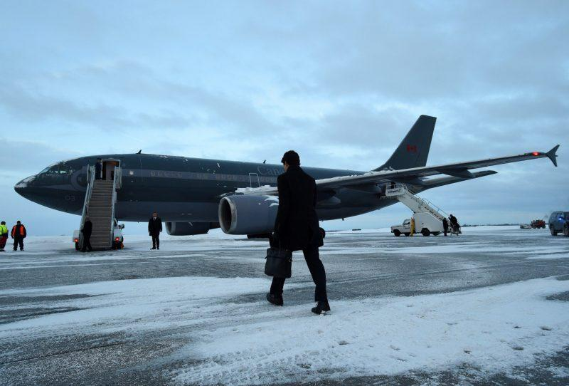 <p>Trudeau's flight out of Ottawa was delayed slightly due to snow. Photo from The Canadian Press </p>