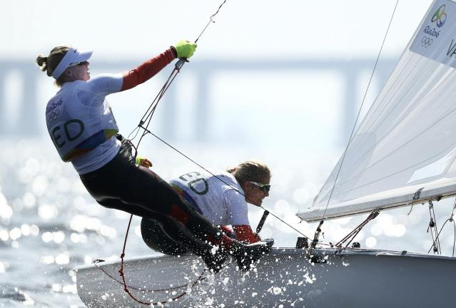 2016 Rio Olympics - Sailing - Preliminary - Women's Two Person Dinghy - 470 - Race 8/9/10 - Marina de Gloria - Rio de Janeiro, Brazil - 16/08/2016. Afrodite Zegers-Kyranakou (NED) of Netherlands and Anneloes van Veen (NED) of Netherlands compete. REUTERS/Benoit Tessier FOR EDITORIAL USE ONLY. NOT FOR SALE FOR MARKETING OR ADVERTISING CAMPAIGNS.
