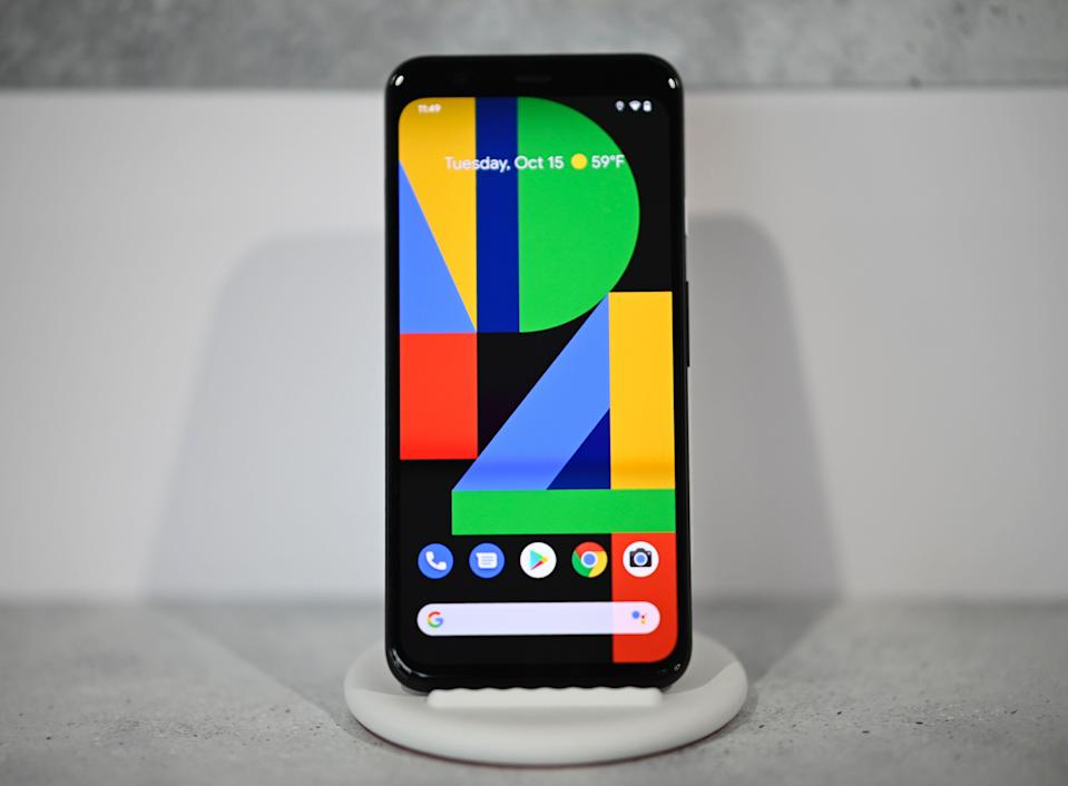 The new Google Pixel 4 phone is displayed during a Google product launch event called 'Made by Google 19' in New York City on October 15, 2019. - Google unveiled its newest Pixel handsets, aiming to boost its smartphone market share with features including gesture recognition that lets users simply wave their hands to get things done. (Photo by JOHANNES EISELE/AFP via Getty Images)