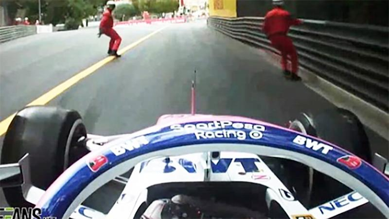 Sergio Perez was lucky to avoid disaster. Image: F1
