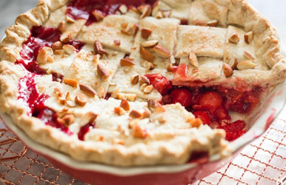 """<p><a href=""""https://www.thedailymeal.com/cook/7-recipes-aren-t-pie-using-refrigerated-pie-crust?referrer=yahoo&category=beauty_food&include_utm=1&utm_medium=referral&utm_source=yahoo&utm_campaign=feed"""" rel=""""nofollow noopener"""" target=""""_blank"""" data-ylk=""""slk:Refrigerated pie crust"""" class=""""link rapid-noclick-resp"""">Refrigerated pie crust</a> comes in handy when you don't have time to make it from scratch, but for this tart cherry amaretto pie, you'll have to prep a couple of days in advance and make your own crust. Have fun designing your own lattice top crust for this one.</p> <p><a href=""""https://www.thedailymeal.com/best-recipes/tart-cherry-amaretto-pie?referrer=yahoo&category=beauty_food&include_utm=1&utm_medium=referral&utm_source=yahoo&utm_campaign=feed"""" rel=""""nofollow noopener"""" target=""""_blank"""" data-ylk=""""slk:For the Tart Cherry Amaretto Pie recipe, click here."""" class=""""link rapid-noclick-resp"""">For the Tart Cherry Amaretto Pie recipe, click here.</a></p>"""