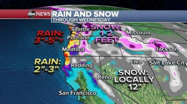 PHOTO: Locally three to five inches of rain will be possible along the immediate coast through Wednesday. In the mountains, locally one to two feet of snow will be possible in the higher elevations. (ABC News)