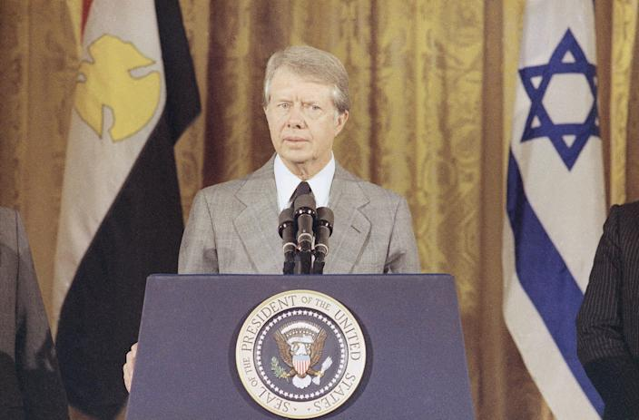 President Jimmy Carter in the East Room of the White House, Washington on Oct. 12, 1978.