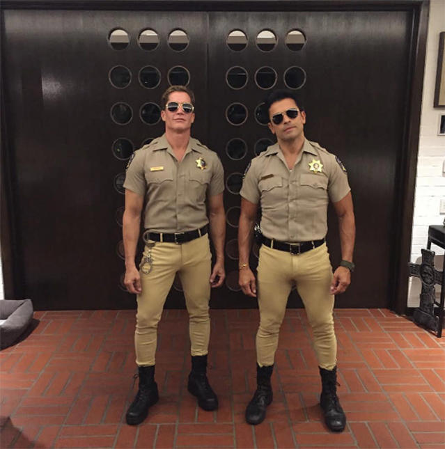 "<p>The <i>Pitch</i> actor and his pal Bruce Bozzi teamed up — and bravely donned some seriously snug pants — to portray Ponch and John from the '70s TV Show <i>CHiPs</i>. ""This is happening…,"" teased Consuelos. (Photo: <a href=""https://www.instagram.com/p/BMIdRXjhAow/?taken-by=instasuelos"" rel=""nofollow noopener"" target=""_blank"" data-ylk=""slk:Instagram"" class=""link rapid-noclick-resp"">Instagram</a>) </p>"