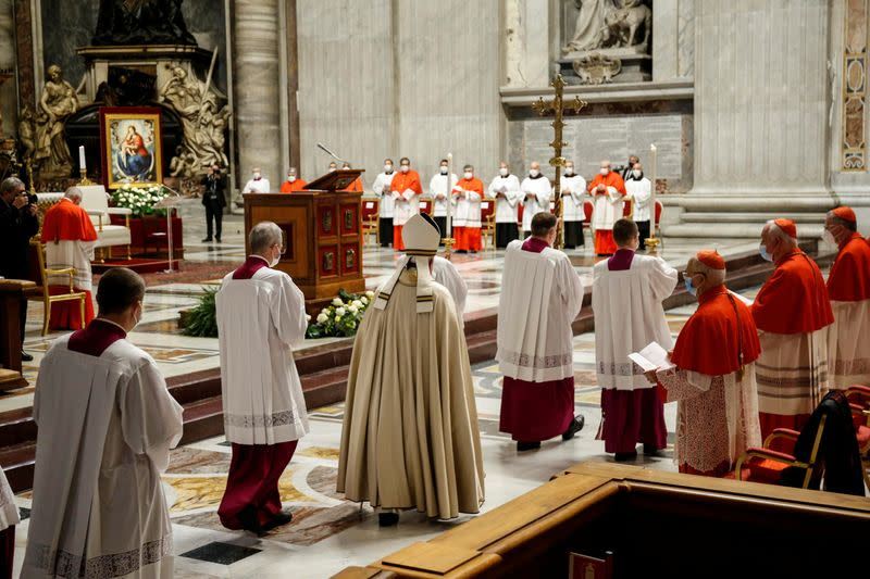Pope Francis elevates 13 prelates to the rank of cardinal, at St. Peter's Basilica at the Vatican