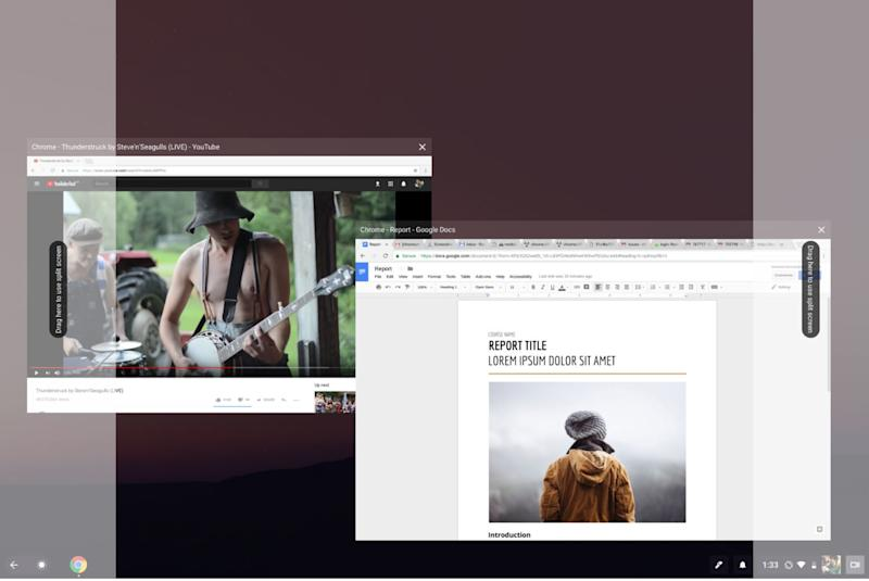 chrome OS split view