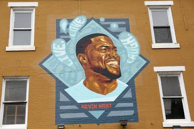 Kevin Hart mural pictured at Kevin Hart Day and birthday celebration and mural dedication in front of Max's Steaks in Philadelphia
