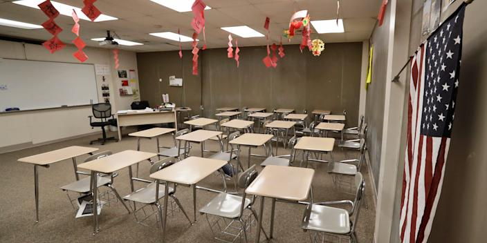 The empty world language room is shown at Orange High School, Thursday, March 12, 2020, in Pepper Pike, Ohio.
