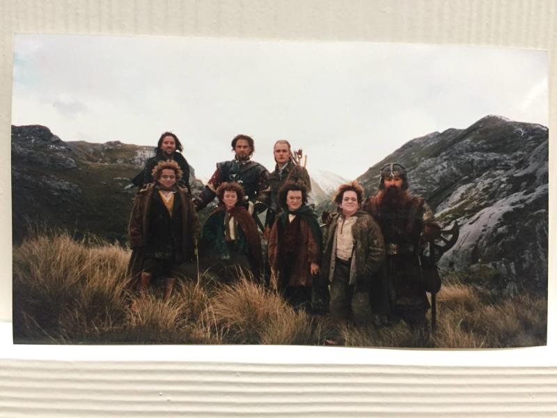Orlando Bloom with stunt doubles for most of the remaining Fellowship. (Credit: Orlando Bloom / Facebook)