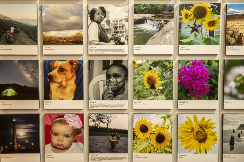 High school student Tyleah B. from Brentwood, N.Y., has several photos in the exhibit that led to a scholarship to Cornell University. (Photo: Gordon Donovan/Yahoo News)