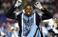 Members of the Jackson State band perform at halftime during the Southern Heritage Classic NCAA college football game against Tennessee State in Memphis, Tenn., Saturday, Sept. 11, 2021. (Patrick Lantrip/Daily Memphian via AP)