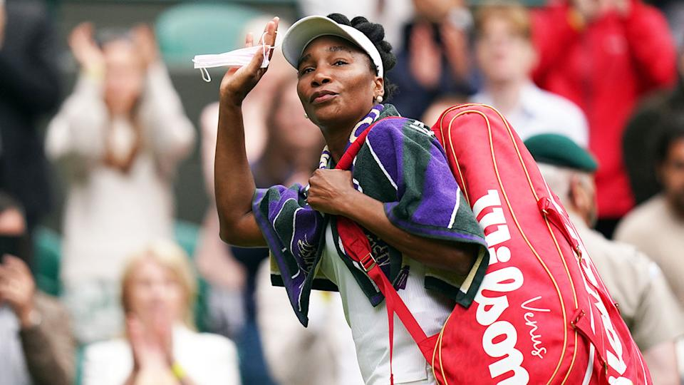 Venus Williams, pictured here waving as she leaves the court at Wimbledon.