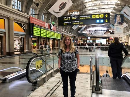 Susanna Elfors, founder of Tagsemester, poses for a picture at the central train station in Stockholm
