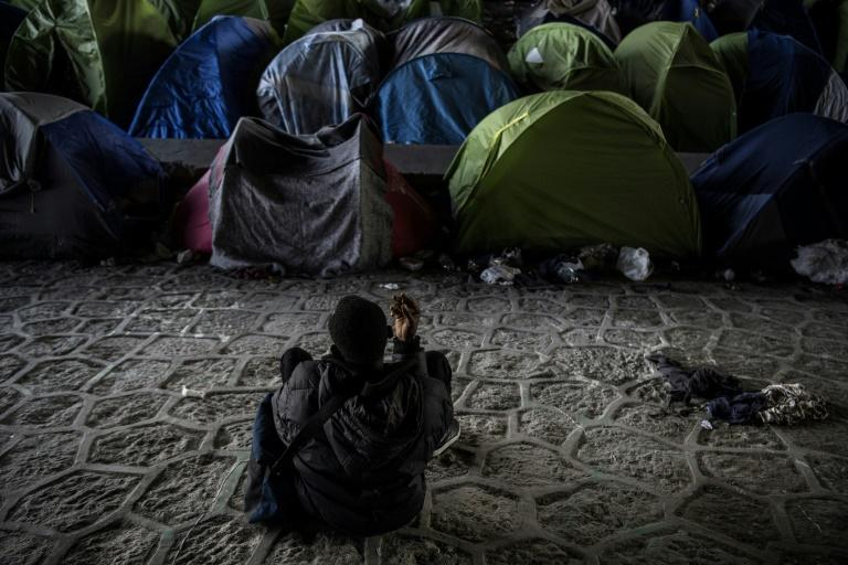 Makeshift camps have been set up in several areas of Paris