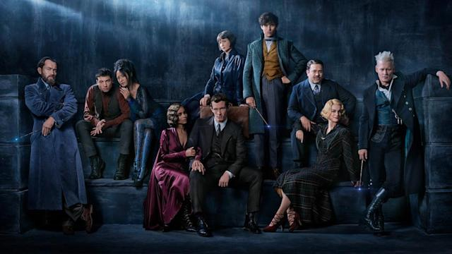 From left: Jude Law, Ezra Miller, Claudia Kim, Zoë Kravitz, Callum Turner, Katherine Waterston, Eddie Redmayne, Dan Fogler, Alison Sudol, and Johnny Depp in <i>Fantastic Beasts: The Crimes of Grindelwald.</i> (Photo: Warner Bros.)
