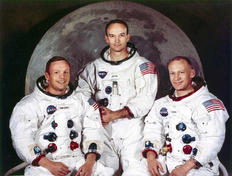 Neil Armstrong, Michael Collins e Edwin 'Buzz' Aldrin (Photo by SSPL/Getty Images)