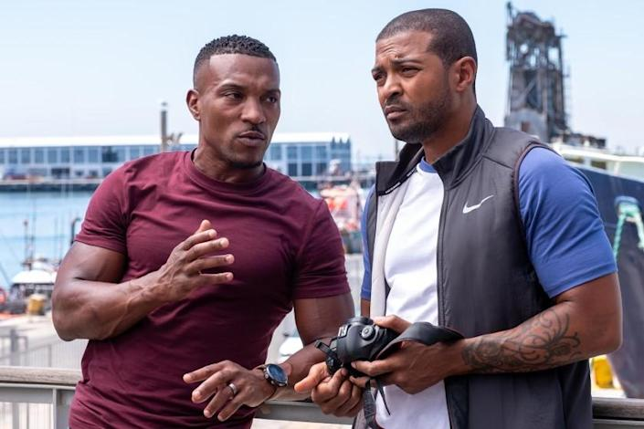 """Bulletproof -- The CW TV Series, Bulletproof -- """"South Africa: Episode 1"""" -- Image Number: BLP301_6645.jpg -- Pictured (L-R): Ashley Walters as Ronnie Pike and Noel Clarke as Aaron Bishop -- Photo: © Sky UK Limited. Ashley Walters, left, and Noel Clarke """"Bulletproof"""" on The CW."""