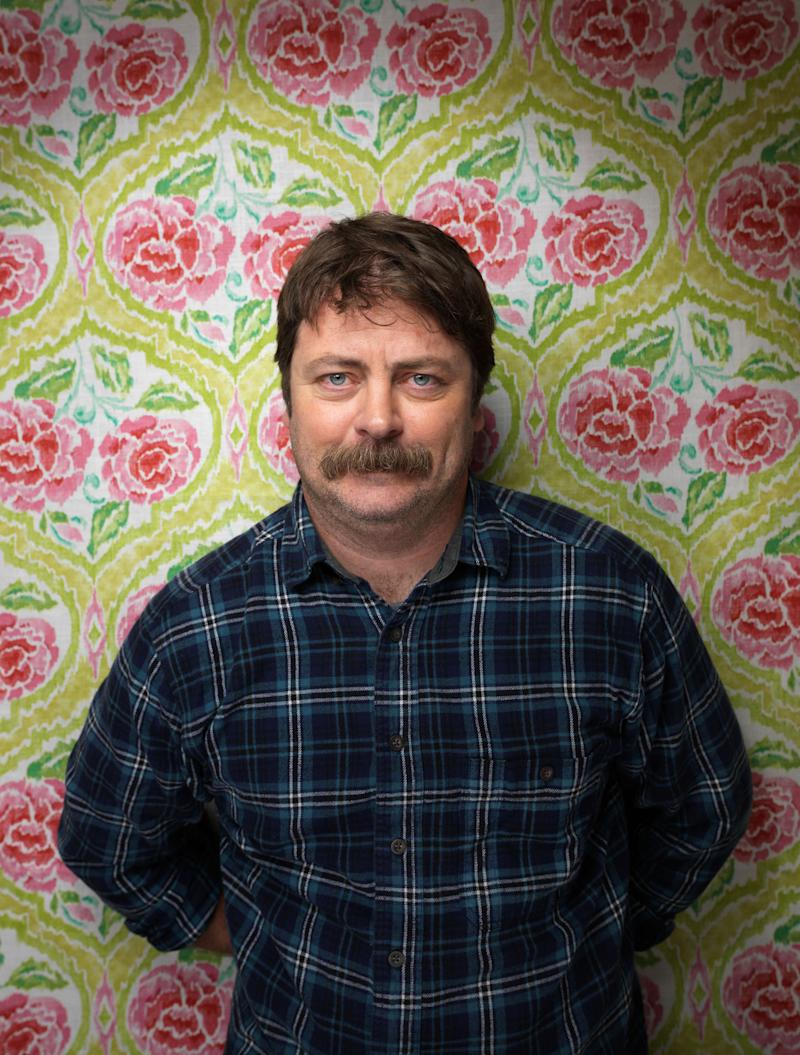 """FILE - In this Jan. 22, 2012 file photo, actor Nick Offerman poses for a portrait during the 2012 Sundance Film Festival in Park City, Utah.  Offerman portrays Ron Swanson on NBC's """"Parks and Recreation"""" airing Thursday at 8:30 p.m. EST. (AP Photo/Victoria Will, file)"""