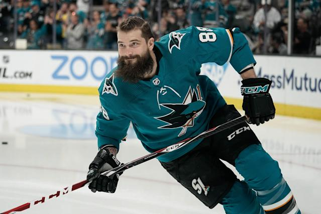"<a class=""link rapid-noclick-resp"" href=""/nhl/players/3358/"" data-ylk=""slk:Brent Burns"">Brent Burns</a> edges out the competition as the top defenseman in fantasy for 2019 Mandatory Credit: Stan Szeto-USA TODAY Sports"