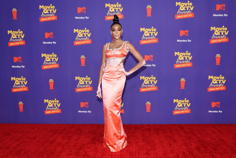 LOS ANGELES, CALIFORNIA - MAY 17: In this image released on May 17, Winnie Harlow attends the 2021 MTV Movie & TV Awards: UNSCRIPTED in Los Angeles, California. (Photo by Amy Sussman/Getty Images)